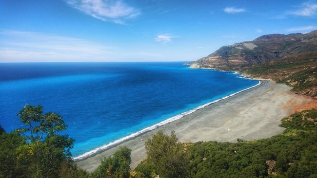 Beachphotography Sea Blue Travel Sky Landscape Beauty In Nature Beach Tourism Tree Horizontal Outdoors Travel Destinations Day No People Corsica Corse HDR Mountain Full Length Vacations