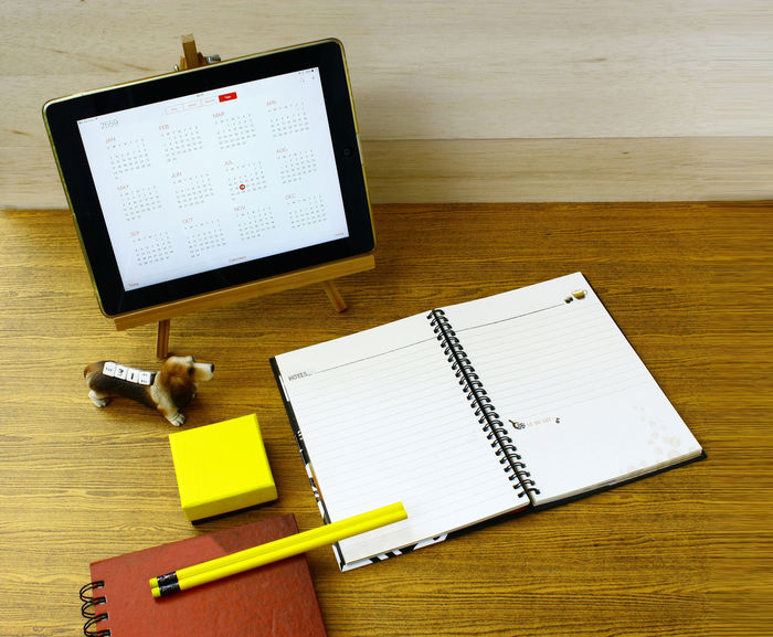Book Calendar Close-up Dog Education Note Pad Oofi Paper Pencils Red Book Studio Wireless Technology Wood - Material Wooden Yellow Box