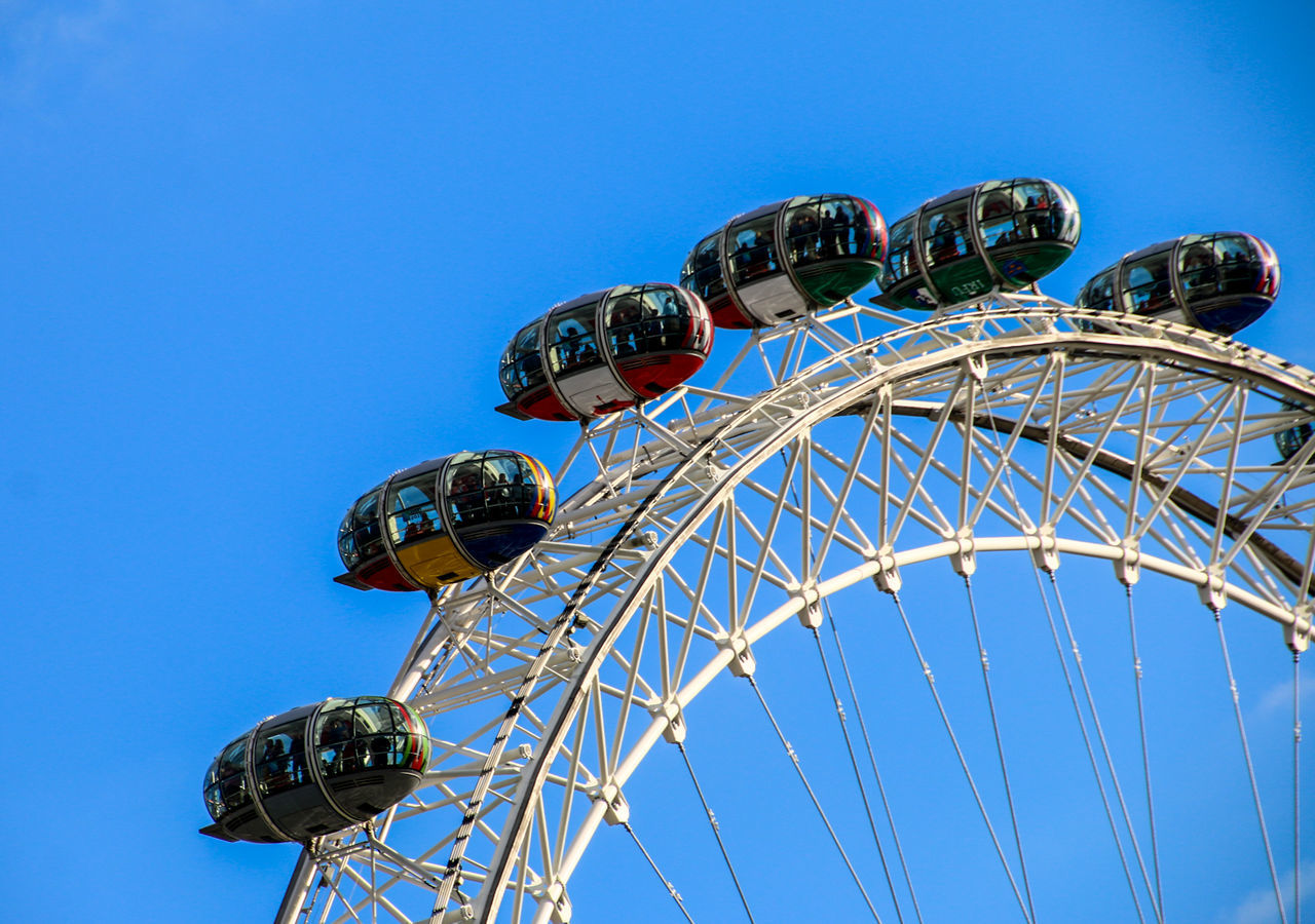 Amusement Park Amusement Park Ride Arts Culture And Entertainment Blue Carousel Carrousel Clear Sky Day Ferris Wheel London London Eye London EyeEm Meetup LondonEye No People Outdoors Roundabout Sky Vacations Adapted To The City The City Light