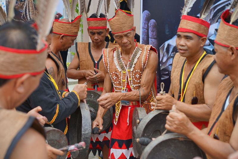 The World Indigenous Day Celebrations 2016 held in Shah Alam, Malaysia on Aug 4-9 2016. Bonding Day Gong Happiness Hit Gong Leisure Activity Lifestyles Medium Group Of People Native Men Outdoors PHOAS2016 Playing Native Instruments Playing Traditional Music Teamwork