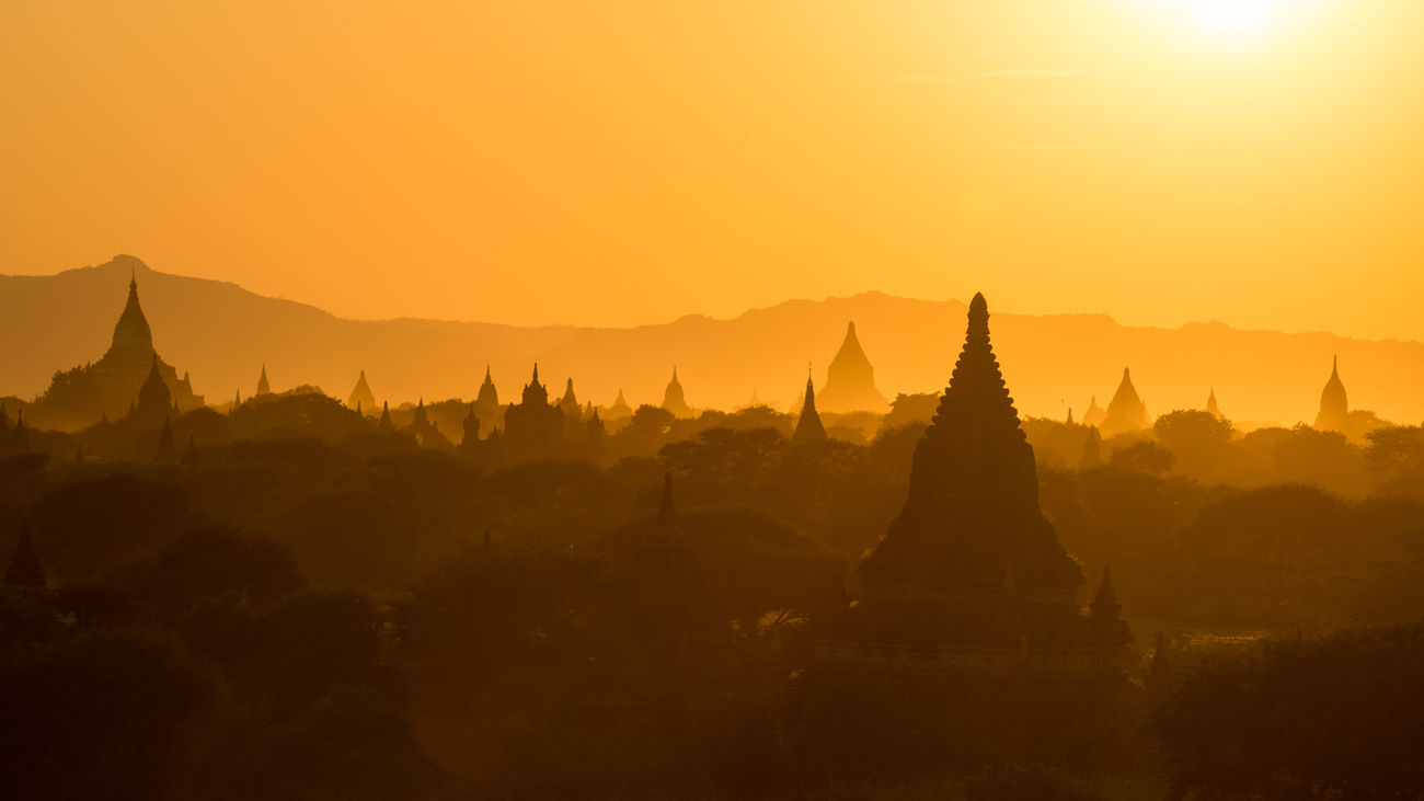 Sunset at Bagan, Myanmar 16:9 Crop Budism Historcal Monuments Myanmar Orange Sunset Temples Iamnikon I Am Beautiful Fine Art Photography Color Palette