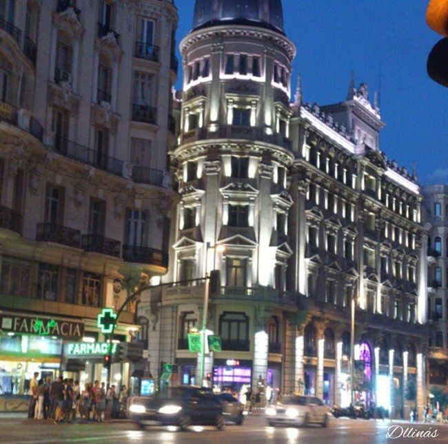 Architecture Built Structure City Street City Life Night Lights Night Madrid Without Filters