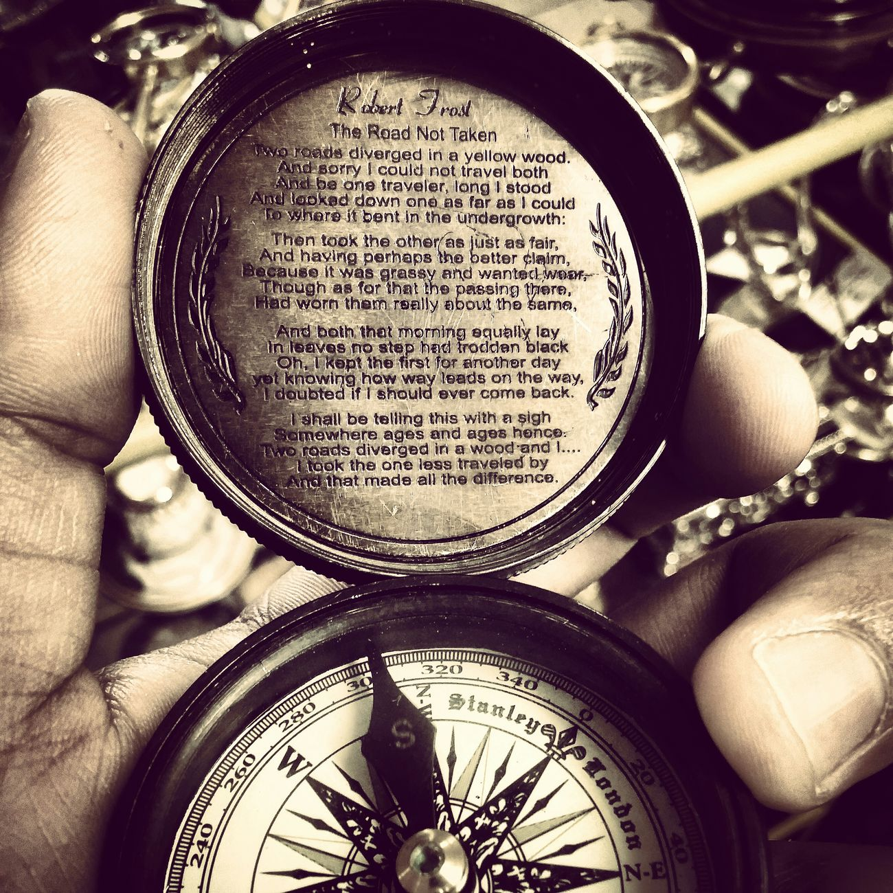 Compass Vintage Stanley Brass Oceanographic Oldschool Check This Out PhonePhotography LG G3 The Road Not Taken By Robert Frost