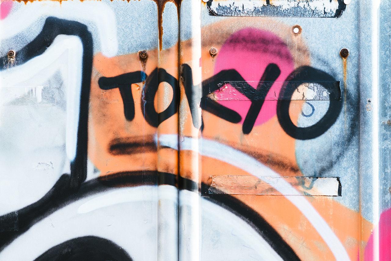 Tokyo Graffitti Backgrounds Close-up Communication Day Graffiti Multi Colored No People Outdoors Spray Paint Street Art