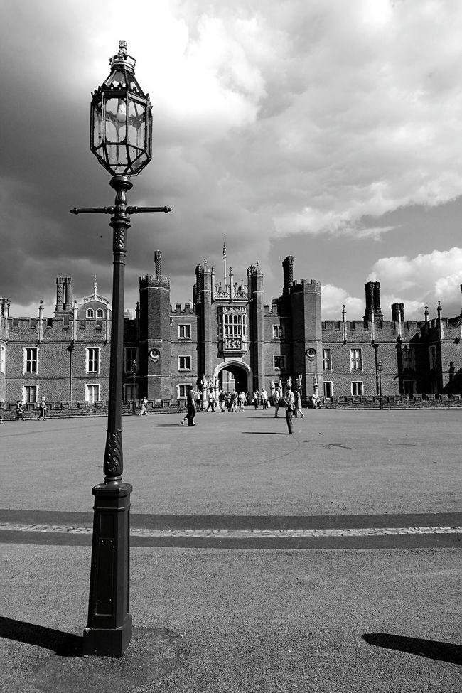 Hampton Court Palace Architecture Cloud Sky Street Light Light And ShadowBlack & White Entrance Medieval Architecture Henry VIII Historical Building London Lamp Post People