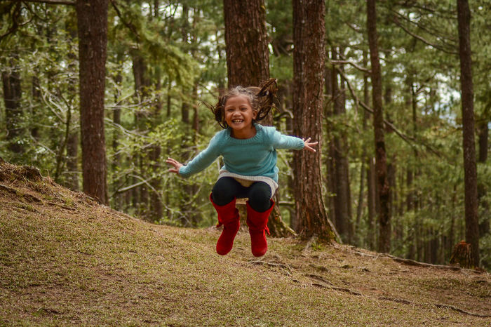 Forest fun with the kids Childhood Children Photography Composition Forest Forestwalk Jump Jumpshot Leisure Activity Real People