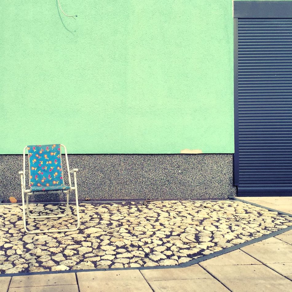 Abstract Abstract Photography Abstractart Architecture Berlin Photography Berliner Ansichten Berlinstagram Blue Chair Chair Colour Of Life Day Empty Emptyness Façade Folding Chair Green Wall Minimal Mint Nature No People Outdoors Pattern Structure Summertime Wall - Building Feature
