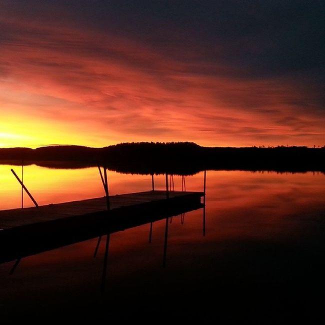 Another one from this morning. Sweden Yxnerum  östergötland Sunrise morninglight earlymorning atumn atumnlight november yxningen beautifulsweden ninacombat lake bridge water nofilter sunriselovers