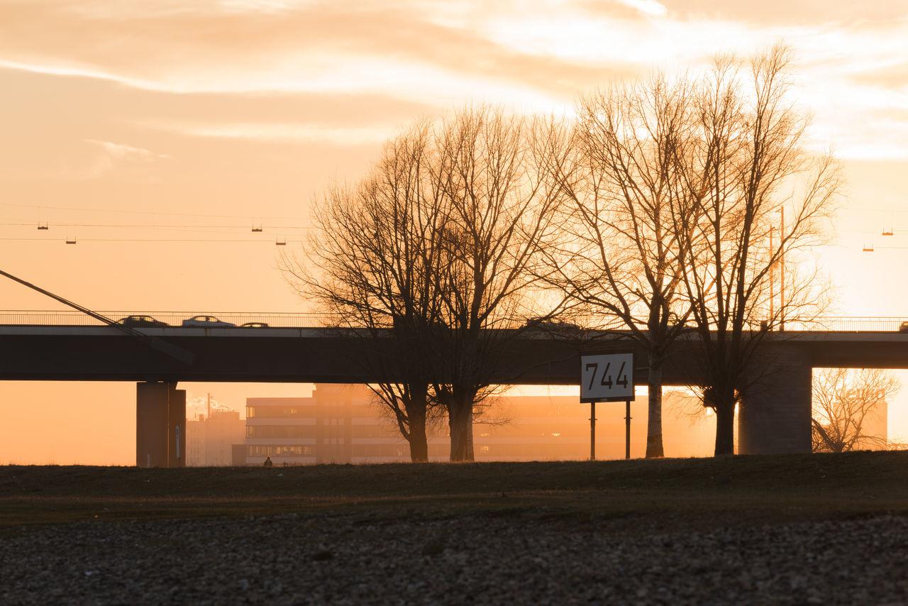 DUESSELDORF, GERMANY - JANUARY 20, 2017: Scenic sundset over a Rhine Bridge Bridge Colorful Düsseldorf Orange Orange Color Scenics Shadow Sky Sunset Trees