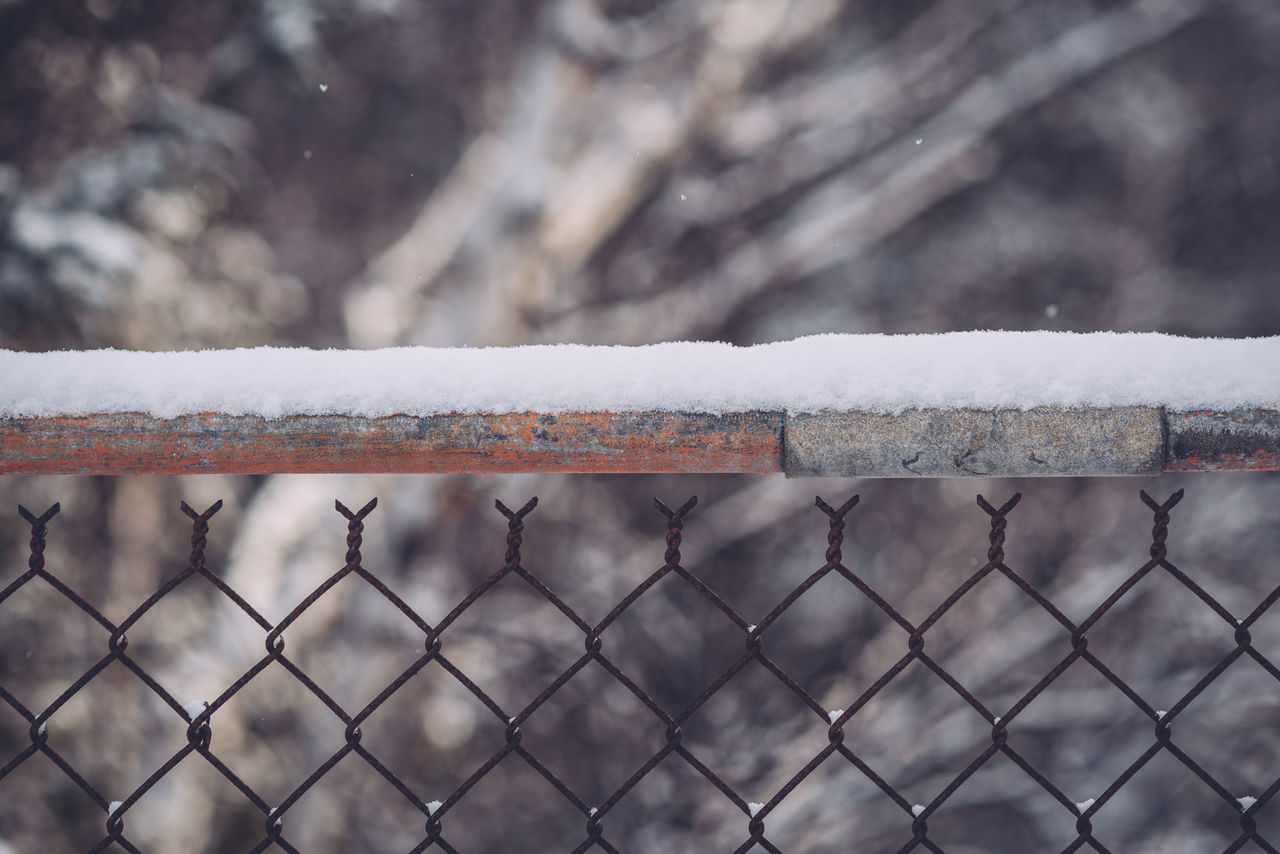 Chain Link Chain Link Fence Close-up Cold Temperature Day Fence Focus On Foreground Forest Nature No People Outdoors Snow Winter Winter
