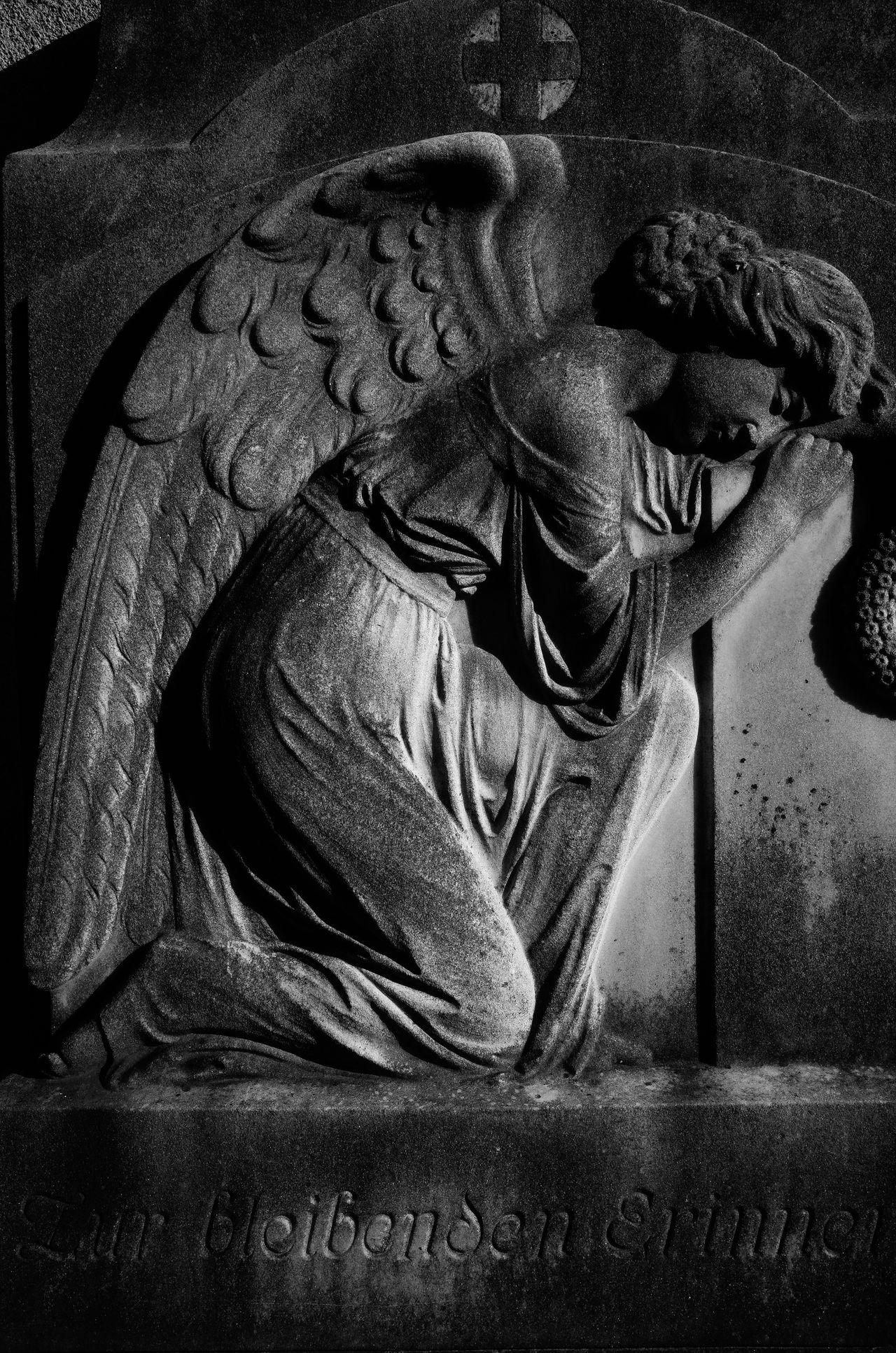 Angel Cherub Close-up Grave Gravestone Graveyard Maximum Closeness Relief Representation
