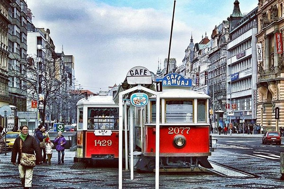Café Tramvaj (Streetcar Café) in the middle of Prague 's Venceslav Square EEprojects Ceskarepublika Czech Prague Praha Tram Tramway Symmetrykillers Publictransport Streetphotography Streetcar LiveTravelChannel Tourism Cafe Beautifuldestinations Travelawesome Cbviews Ig_masterpiece Moodygrams Urbanscene Killergram Way2ill Venceslavsquare Lifestyle Heatercentral superhubs topeuropephoto