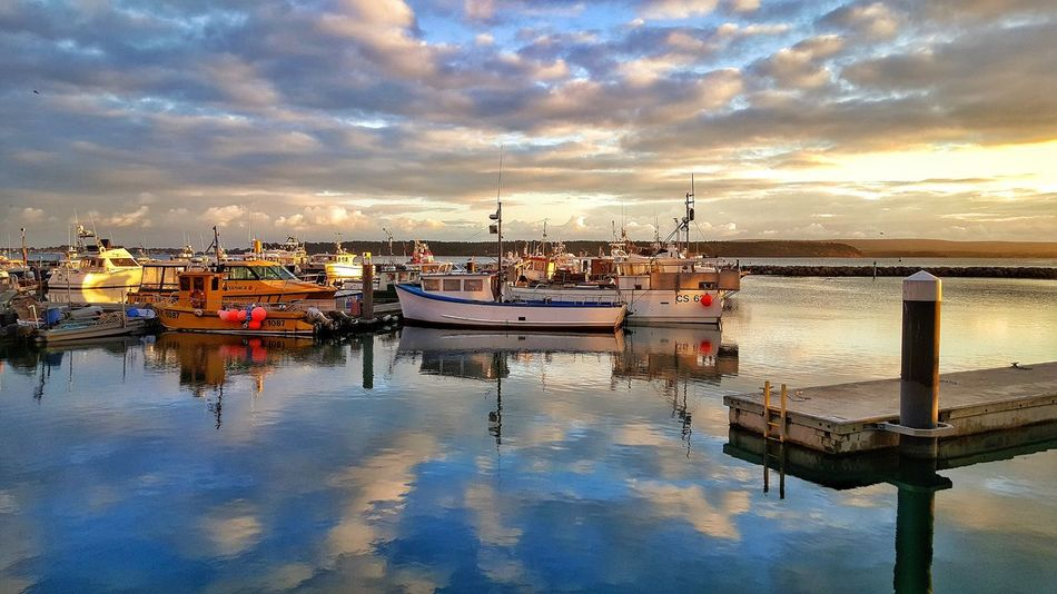 Poole, UK Reflection Sky Water Nautical Vessel Cloud - Sky Transportation Moored Mode Of Transport Sunset Outdoors No People Nature Beauty In Nature Harbor Architecture Day