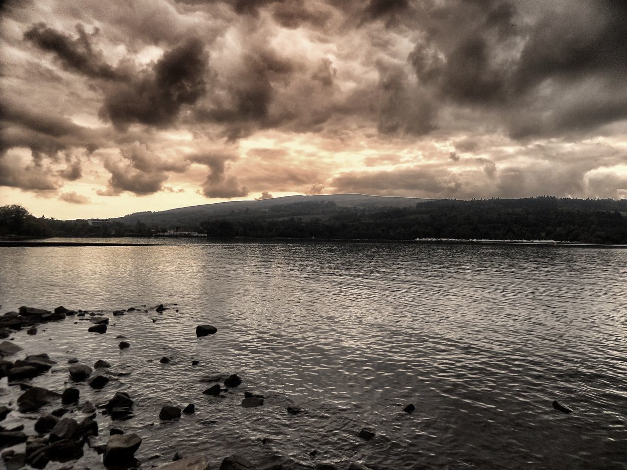 cloud - sky, sky, water, lake, nature, tranquility, scenics, no people, beauty in nature, outdoors, tranquil scene, sunset, storm cloud, mountain, day