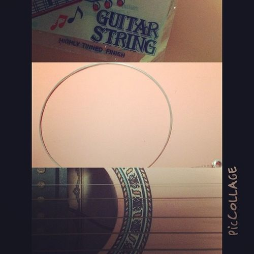 My guitar string was cut short in school when i brought my guitar to school... Need to attach the NEW string on my guitar! PicCollage  Newstring Cuttedstring 5stringsonly instapic instaphoto instagrammer instaguitar