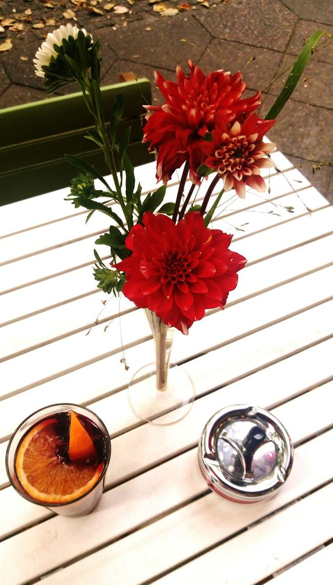After Work Treats Freshness Flower Close-up High Angle View Petal Flower Arrangement Multi Colored Vase Table Glass Sangria Arrangement Flower Head Red Ashtray  Tranquil Scene Tranquility Berlin Photography Bunch Of Flowers Check This Out City Life Flower Freshness Table