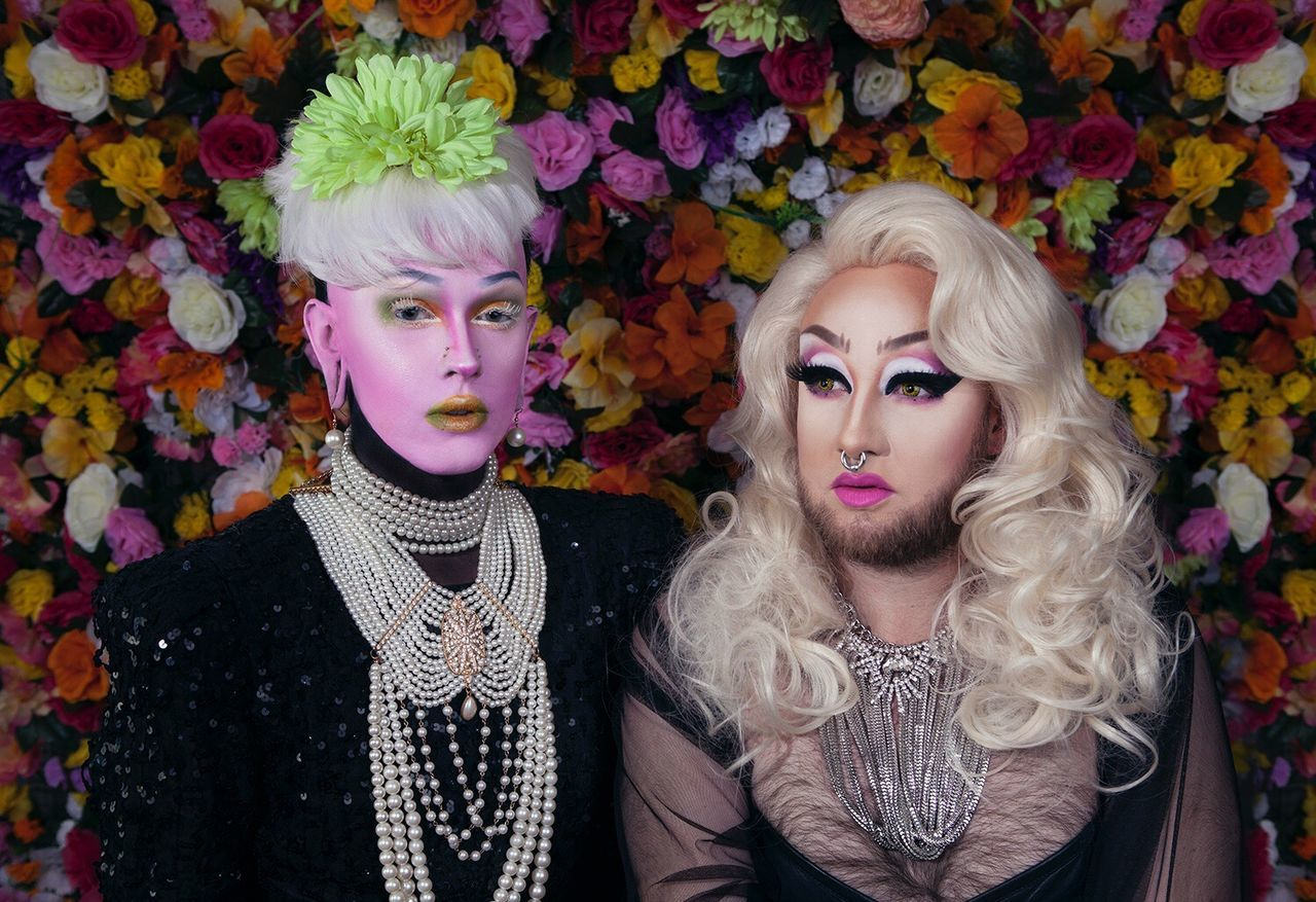 Babes all a bloom. Models: Abominatrix & Shelix. Backdrop: Matt Picon. Assist: Black Betty Towers. Blond Hair Portrait Beautiful Woman Looking At Camera Young Adult Young Women Beauty Adults Only Two People Beautiful People Indoors  Adult Flower People Close-up Only Women Day Drag Queen