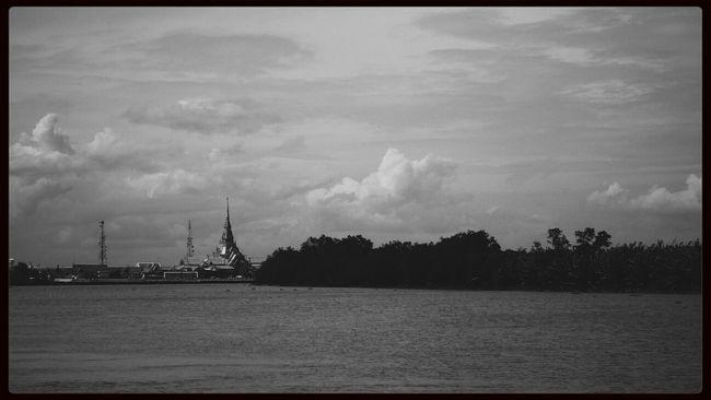 Landscape Temple Black & White Monochrome