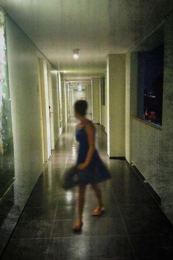 Lonesome girl in scary hotel corridor Beauty Girl Blue Dress Corridor Feminity Girl Hello World Hotel Motion Blur Scary Scary Corridor Scary Places Lonesome Girl Alone Girl In Blue Dress Girl Power