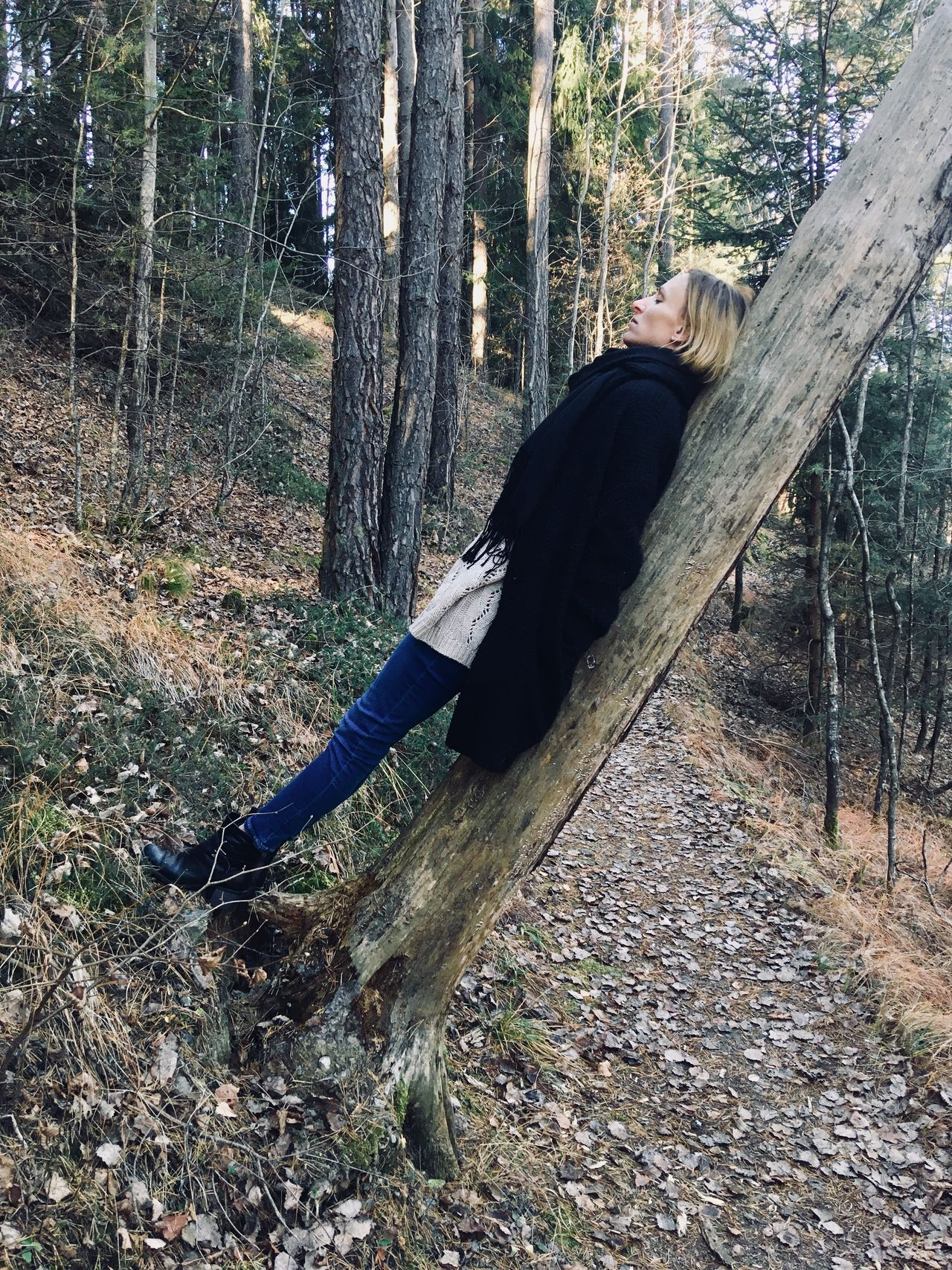 Tree Womaninnature One Person Tree Area Autumn Beauty In Nature Tranquil Scene Nature Womaninblack Magical Moments Magical Trees Magicmoment Warm Clothing Young Women Outdoors Standing Casual Clothing Real People Magic Hour Forest