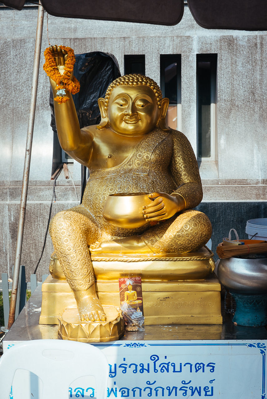 male likeness, statue, human representation, gold colored, spirituality, religion, sculpture, place of worship, indoors, no people, gold, day, close-up