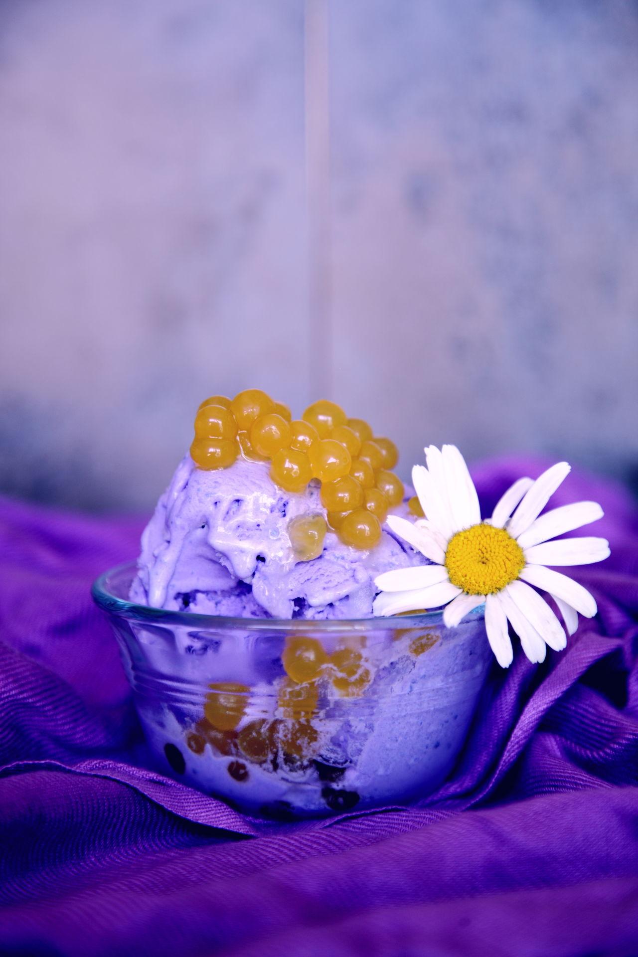 Boba Caviar Cold Colors Daisy Dessert Filipino Filipinofood Flower Food Food Styling Frozen Fun Gelato Gold Helado Ice Cream Mango Pearls Purple Sweet Food Tapioca Ube  Violet Yam