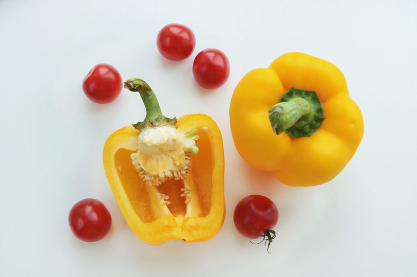 Bell Pepper Close-up Day Food Food And Drink Freshness Fruit Healthy Eating Healthy Lifestyle High Angle View Indoors  Multi Colored No People Paprika Red Red Bell Pepper Still Life Studio Shot Tomato Tomatoes Vegetable Vitamin White Background Yellow Yellow Bell Pepper