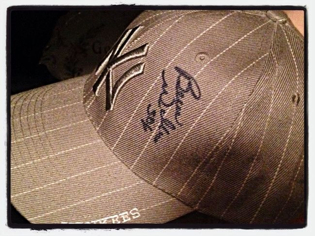 A signed Bernie Williams Hat. Yankees Check This Out Memorabilia