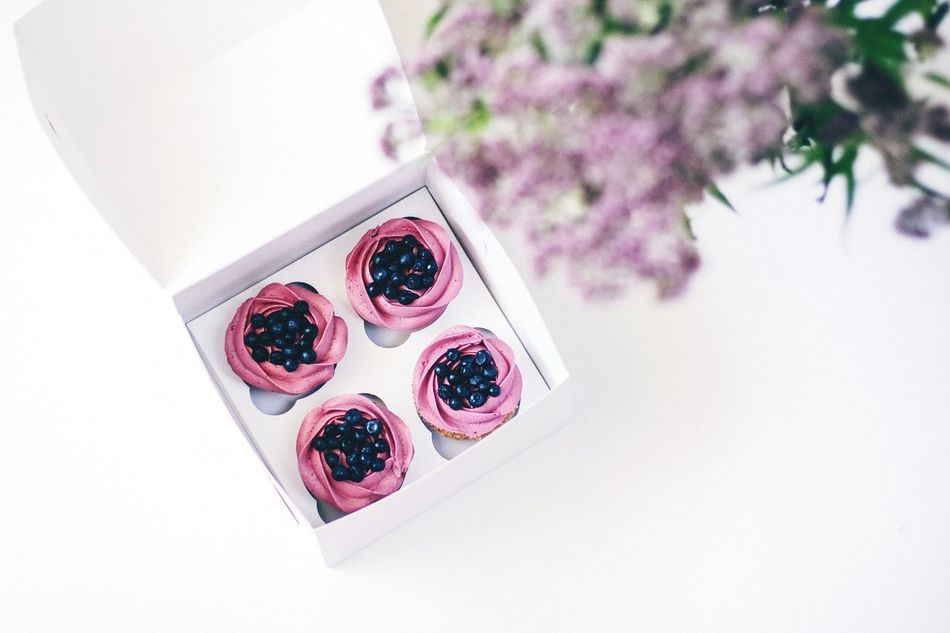 Beautiful stock photos of cupcake, Blueberry, Box - Container, Cream, Cupcake