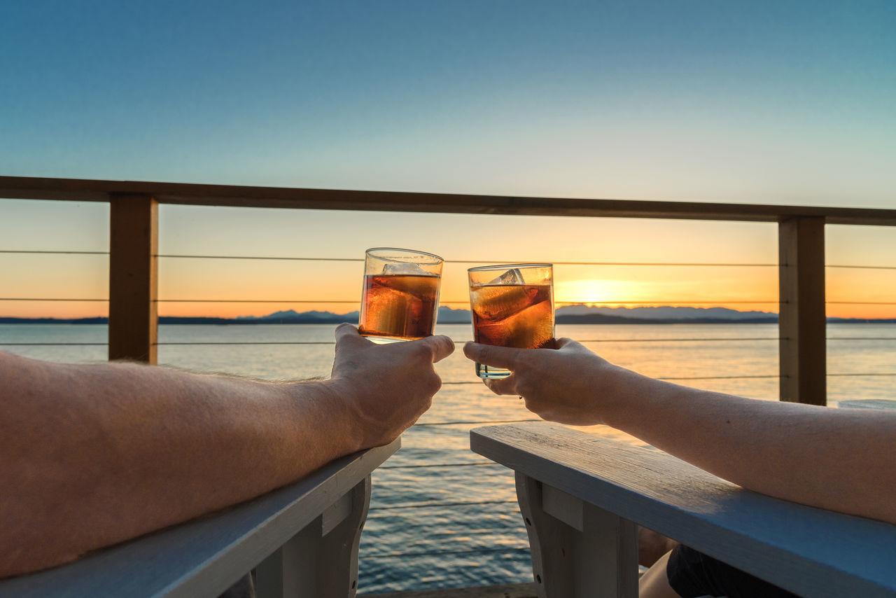 Beautiful stock photos of valentinstag, water, sunset, sea, railing