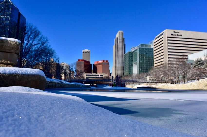 Downtown District Snowfall Snow ❄ Winterscapes Winter_collection Winter Cityscape Omaha, Nebraska Architecture Snow Winter Building Exterior Cold Temperature Built Structure Clear Sky Day No People Outdoors