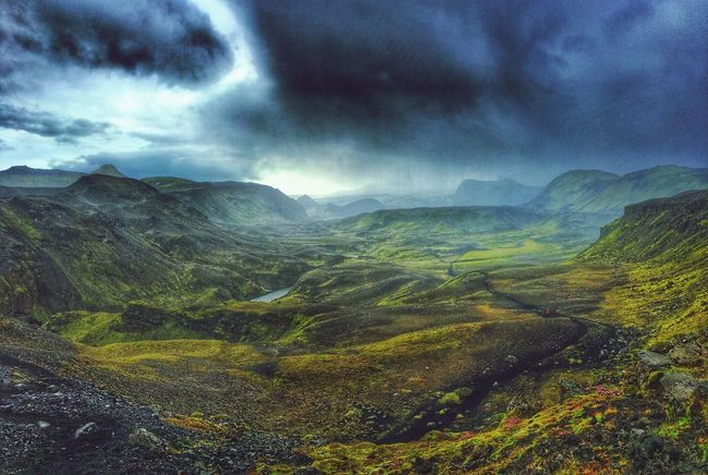 Nature Beauty Lost World Scenic Landscapes EyeEm Nature Lover Green Iceland Iceland Memories Dramatic Sky Dramatic EyeEm Gallery