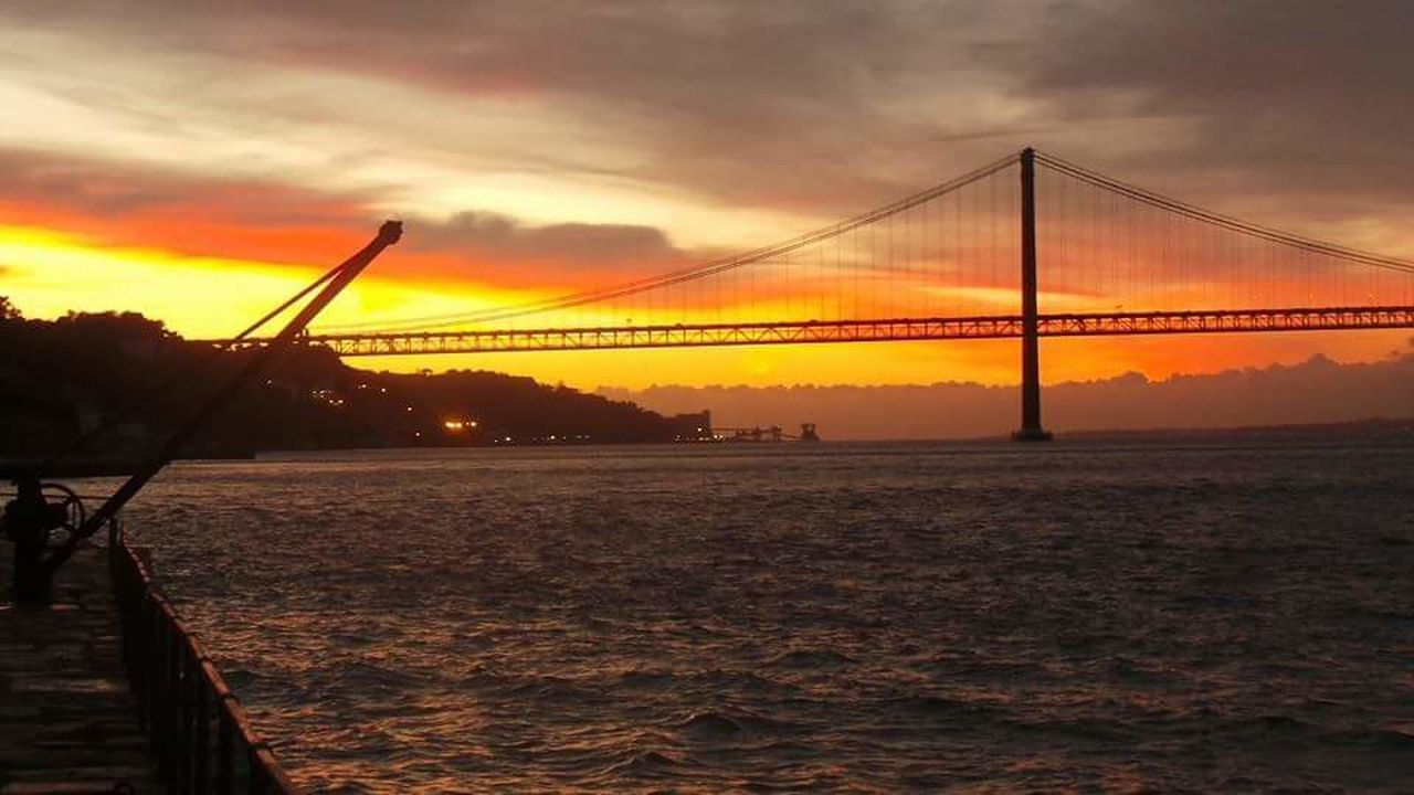 Sunset Suspension Bridge Bridge - Man Made Structure Water Connection Travel Destinations Travel River Tourism Sky Architecture City Built Structure Engineering Outdoors Business Finance And Industry Silhouette Transportation Cable-stayed Bridge Cloud - Sky