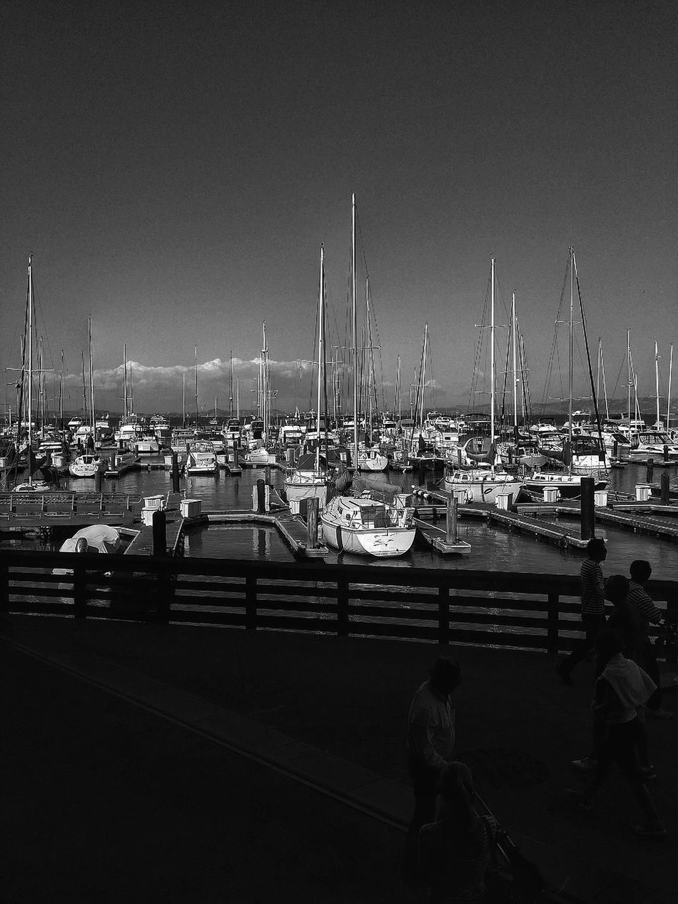 San_Francisco Pier Boats Black And White