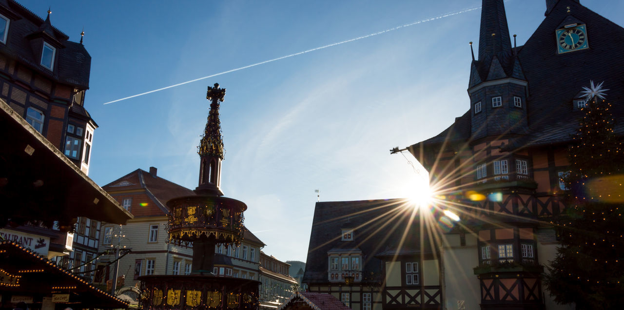 Architecture Blue Sky Building Exterior Built Structure City City Gate Contrail Day Historic City Historical Center Lens Flare Low Angle View Market Place Nikon D3200 No People Outdoors Sky Sunlight Sunny Day Townhall Wernigerode Travel Travel Destinations Water Fountain