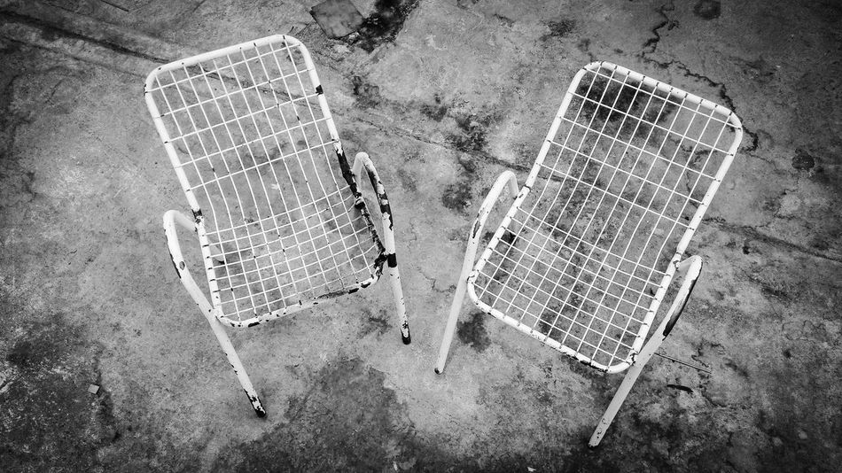 High Angle View No People Outdoors Day Ancient Silla Little Chairs Metal Black And Black And White
