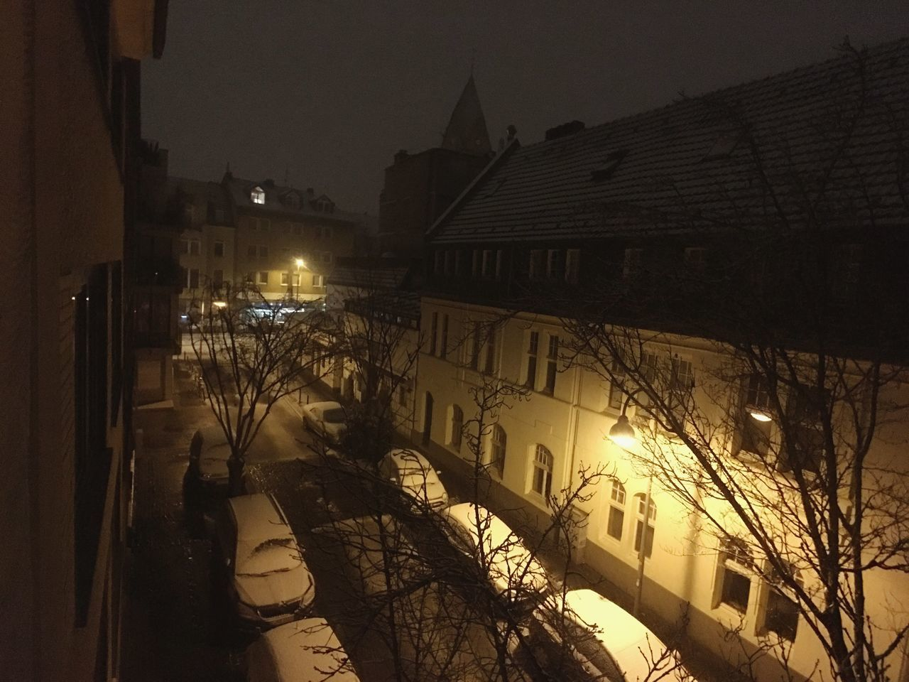 Architecture Building Exterior Built Structure Illuminated Night City Outdoors No People Streetphotography Street Germany Snow Winter Cold Temperature City Architecture
