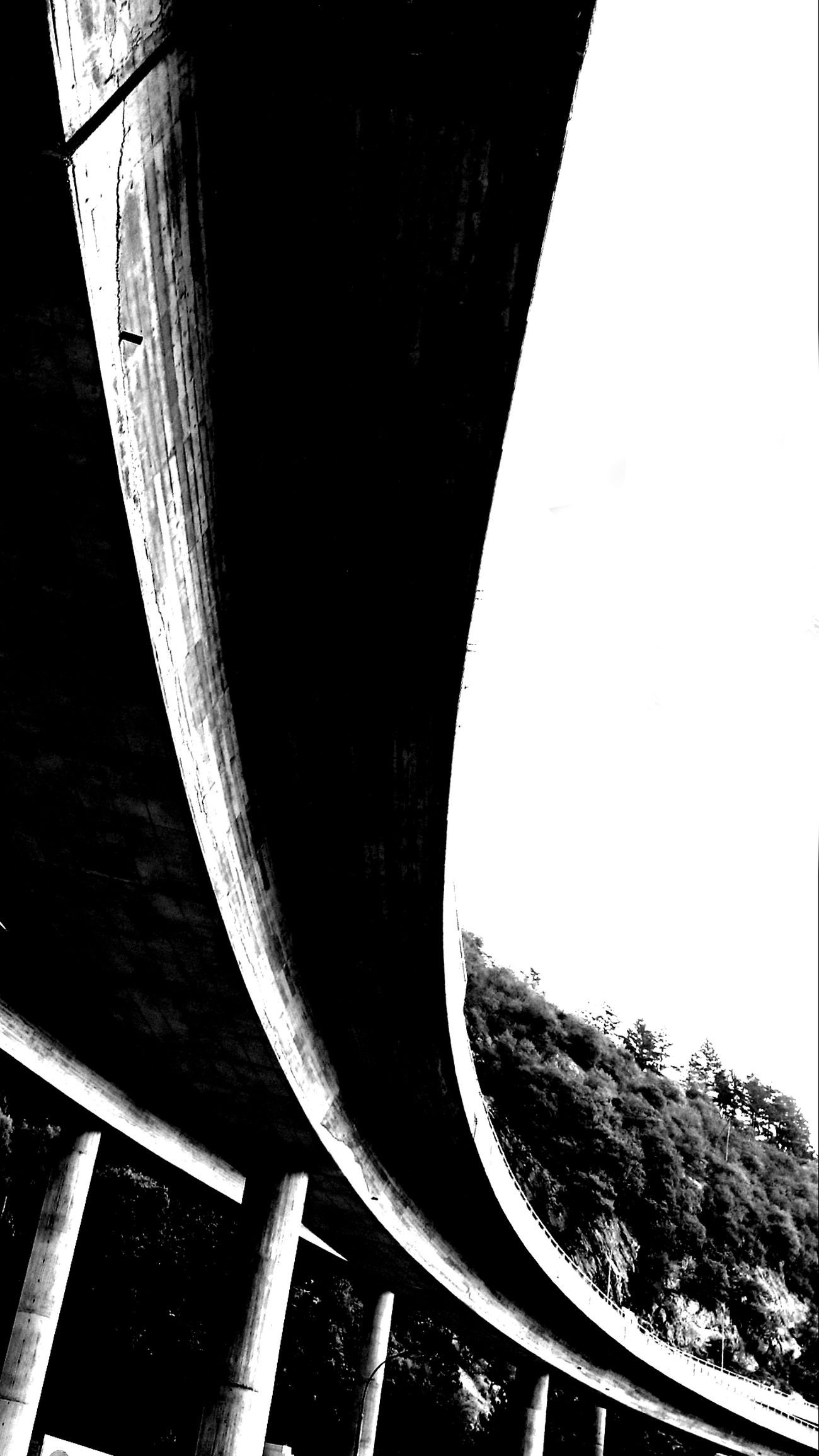 Low Angle View Built Structure Architecture PhonePhotography Smartphone Photography Photography Highway Blackandwhite Black & White Black And White Photography Construction Bridge Street Architecture_bw Lines & Curves Art Urban Transportation