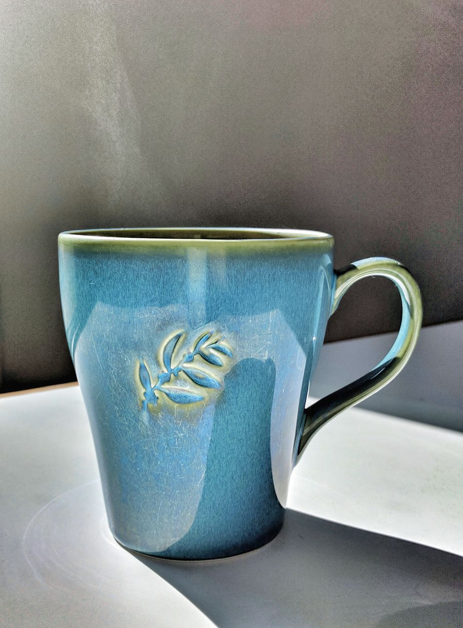 Indoors  Close-up Refreshment Table Drink No People Day Coffee Cup Coffee Morning Coffee Sunlight And Shadow Shapes And Angles Morning Light Blue Steam Mug Design EyeEmNewHere Warmth Warm Drink Circles Pattern Sunlight Shades Of Blue Shadows Caffine Art Is Everywhere