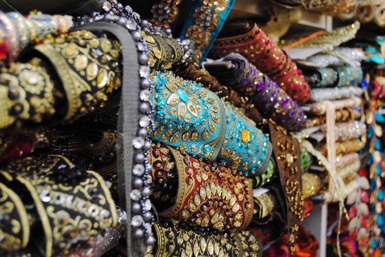 Multi Colored Cultures Close-up Silk Gold Gemstone  Jewelry Elephant Bangle Alexandra Palace Knit And Stitch Craft Fair London Beautiful No People Sari Day