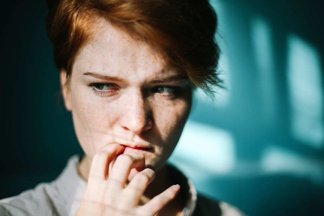 Adult Blue Day Emotion Emotional Photography EyeEm Gallery Freckle Freckleface Freckles Ginger Gingerhair Gingerhead Gingerismypassion Girl Girl Power Human Hand Inlove Love One Person Soul The Portraitist - 2017 EyeEm Awards Woman Portrait Young Adult