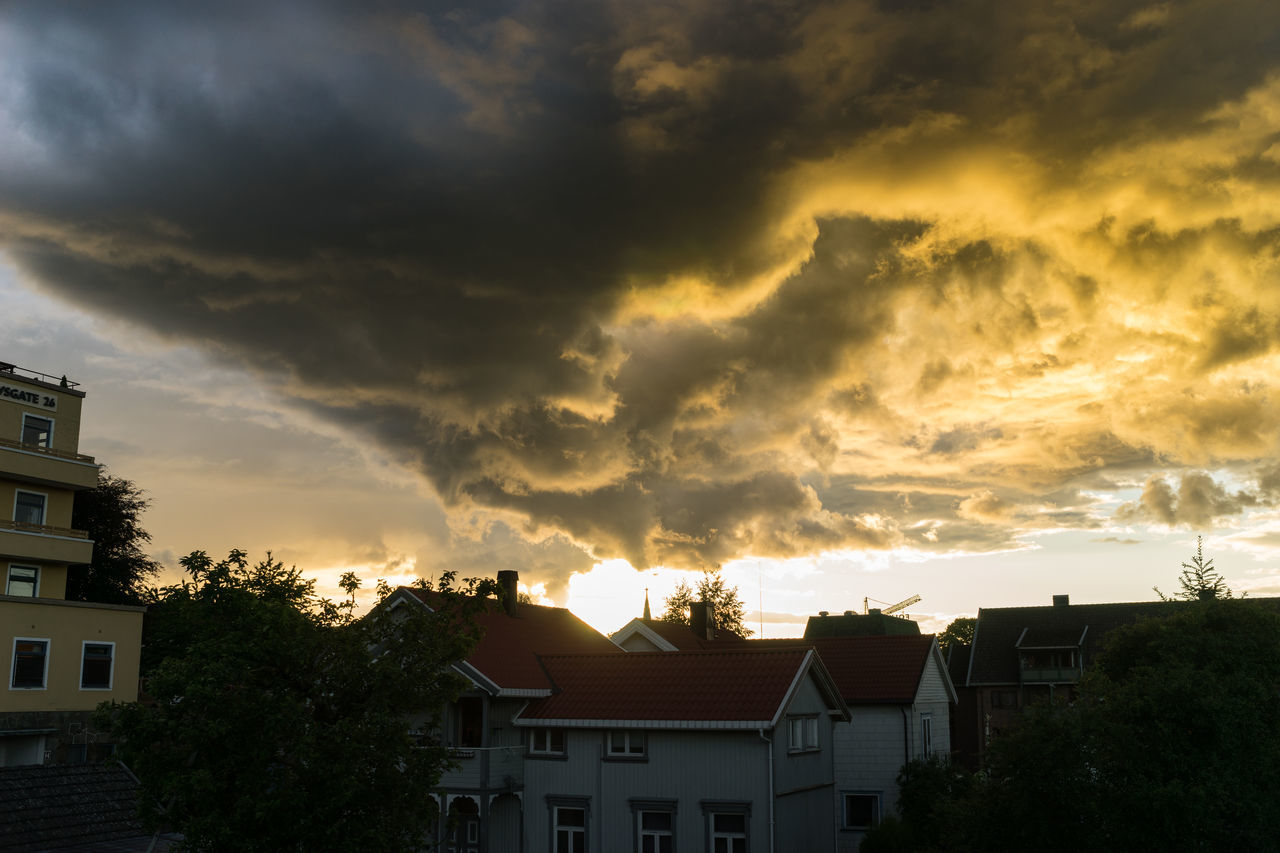 Miss Cloud is a total drama queen today Architecture Building Exterior Built Structure City Cloud Cloud - Sky Cloudporn Clouds And Sky House Nature No People Norway Norway🇳🇴 Outdoors Residential  Sky Storm Cloud Sunset Town Tree Weather