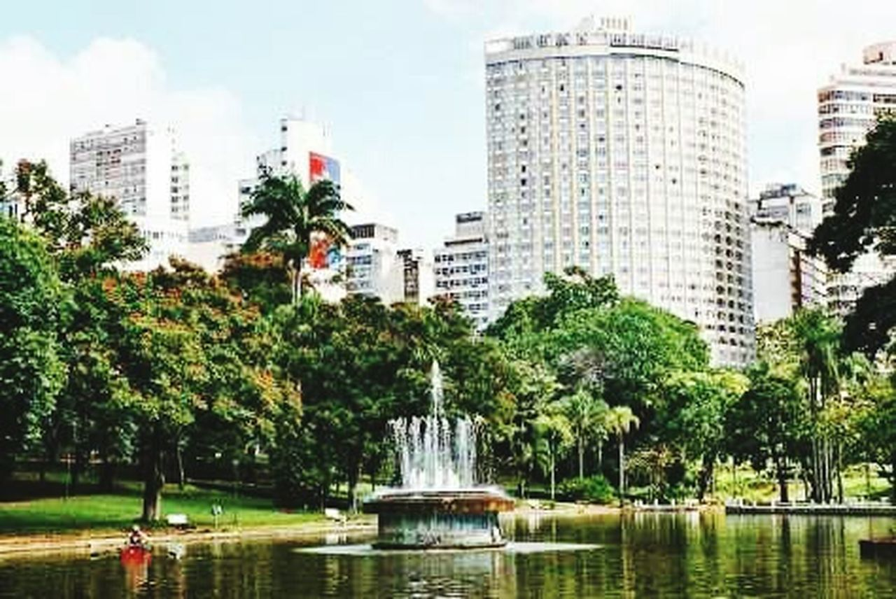 tree, water, city, fountain, architecture, building exterior, city life, skyscraper, motion, built structure, park - man made space, waterfront, outdoors, cityscape, spraying, cloud - sky, day, growth, travel destinations, urban skyline, statue, no people, sky, nature