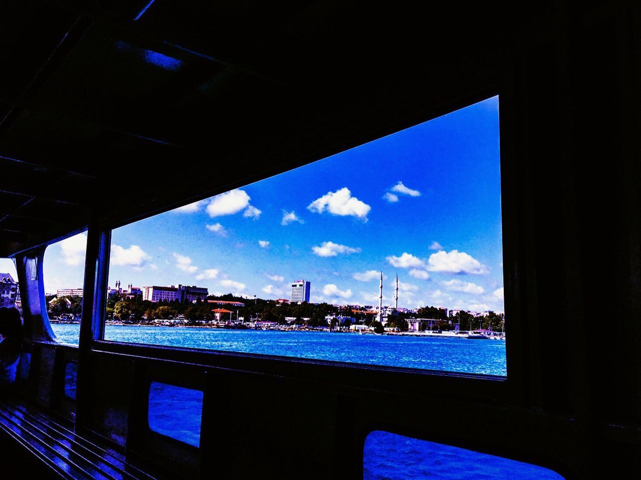 EyeEm Selects EyeEmNewHere Window Sky Cloud - Sky Transportation Water Sea Indoors  Nautical Vessel Day Blue Vacations Architecture No People Cityscape Nature Neon Life