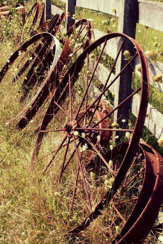 Wheels Wooden Fence On The Road Farm Wheel Farm Life Decorations On The Farm Big Wheel Big Wheels