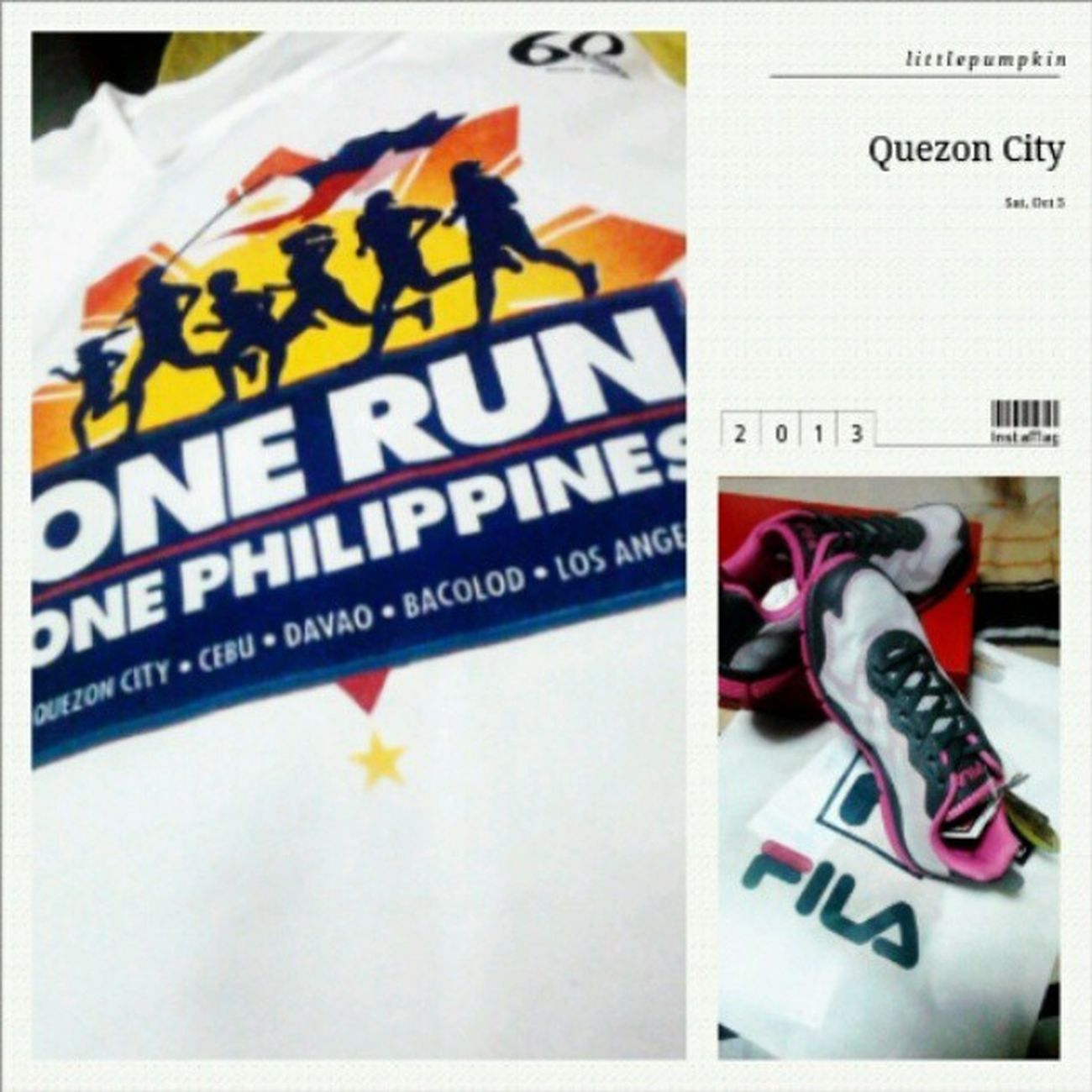 Ready na for tomorrow! :)) Imsoexxxoited Kapamilya60years Onerun Bayantel morning run healthylifestyle 3klongrun lovedones enjoy withmylovies readytorun run shoes fila hotpink igers instapic instamag photooftheday