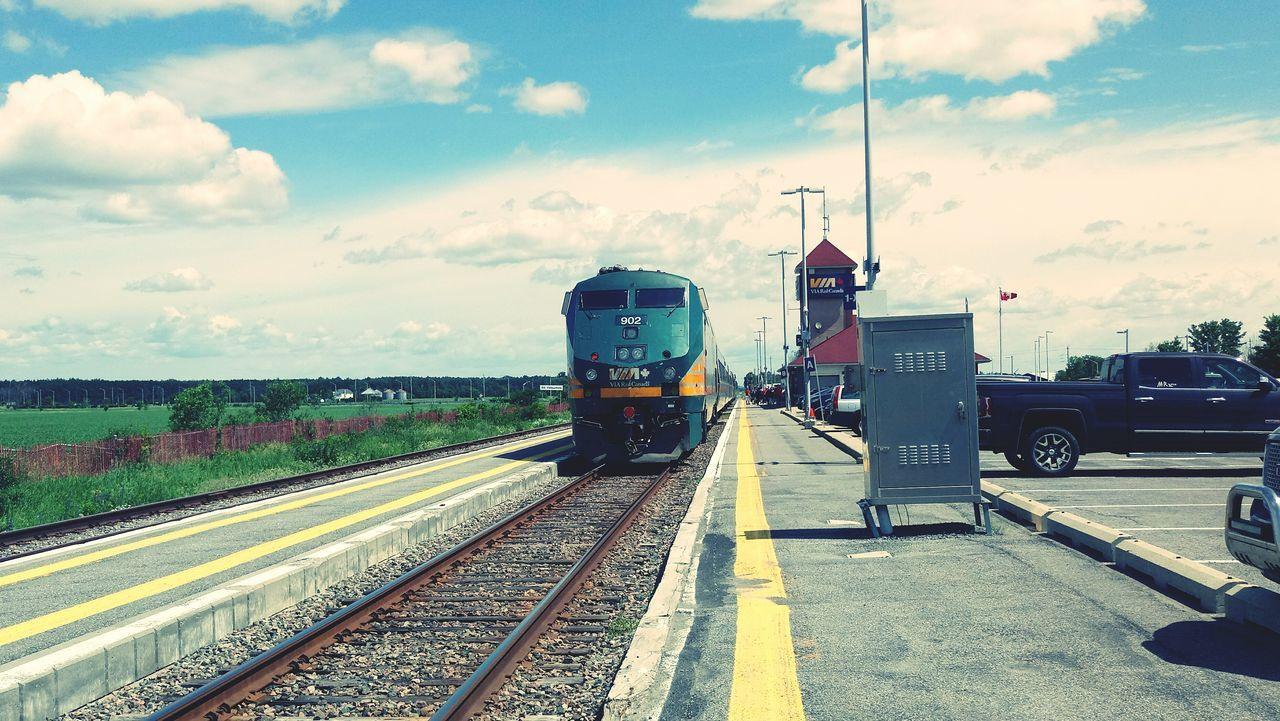 transportation, sky, cloud - sky, mode of transport, railroad track, day, outdoors, rail transportation, no people