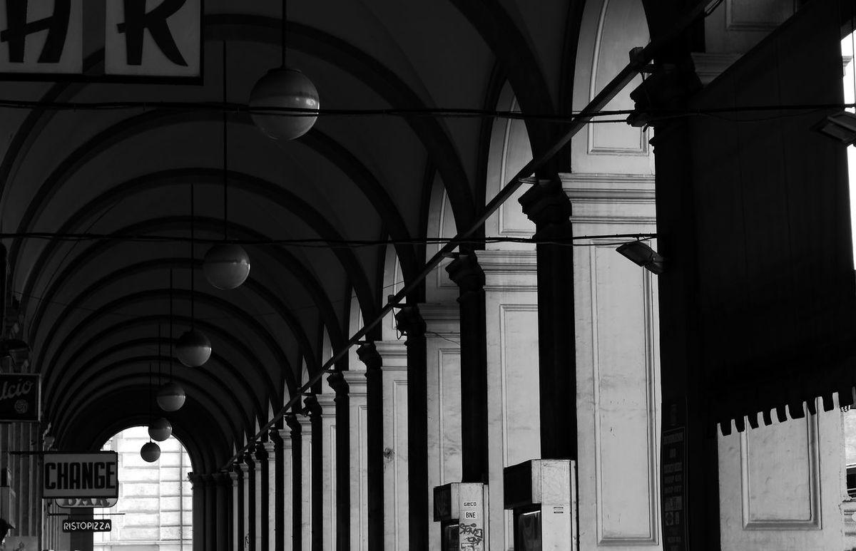 Galleria Roma Rome Arch Architectural Column Architectural Design Architecture Building Exterior Built Structure Gallery Italy Lampioni Negozi No People Outdoors Pilastri Scala Di Grigi Stazione Termini