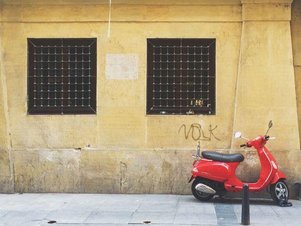 Vespa Istanbul Turkey Red Scooter City Yellow Weathered Wall Wall Parked Street Sidewalk Pavement