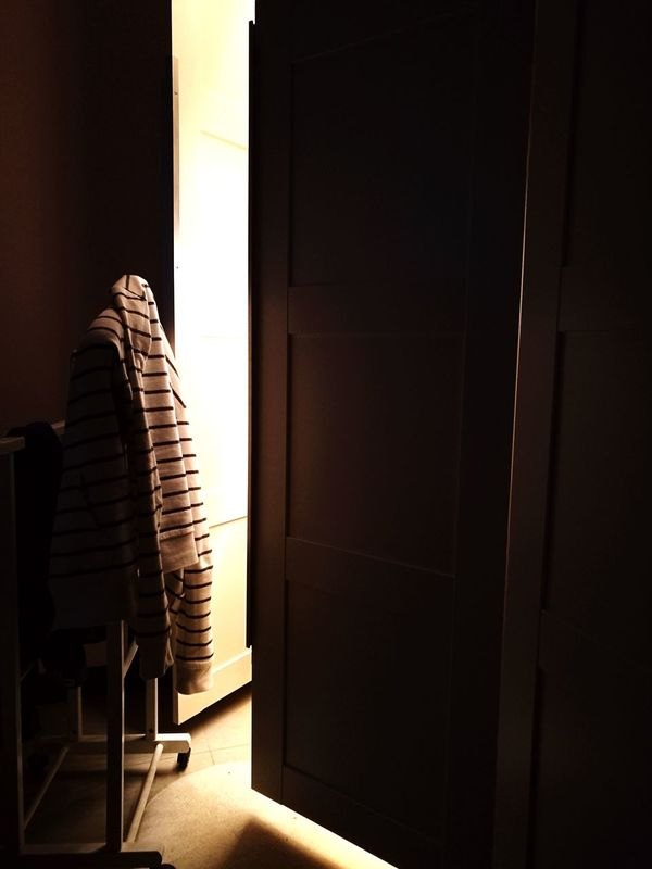 Indoors  Chair No People Clothes Light And Shadow Light In The Darkness Clothes Hanger Wardrobe